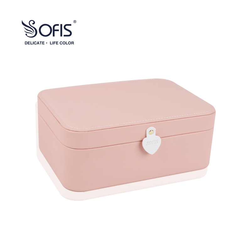 SOFIS Double-deck Jewelry box jewelry organizer wedding decoration gift box christmas jewelry display Jewelry Packaging Box plaid print solid quilt