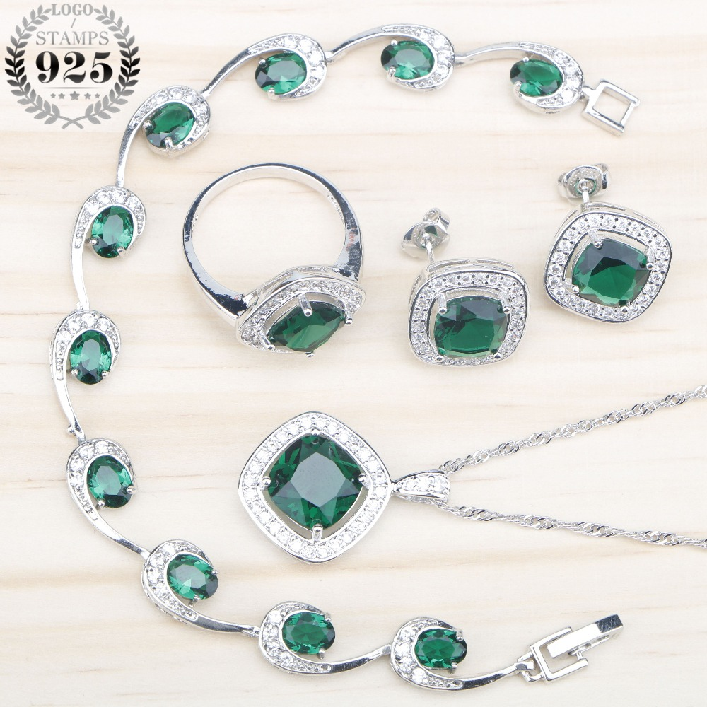 Green Zircon 925 Sterling Silver Bridal Jewelry Sets Bracelets Necklace&Pendant Earrings Rings Stones Set Jewelery Gift Box