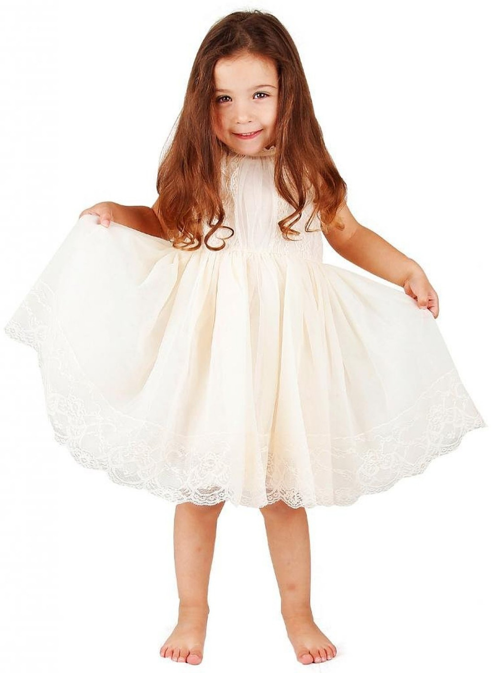 2019 Lovely and Cute A line Round Neck Tea-length Litter   Girl     Dress     Flower     Girl     Dresses   Zipper Back Party   Girls