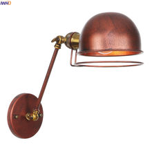 IWHD Antique Rustic Retro Wall Light Fixtures Bedroom Beside Long Arm Vintage Wall Lamp Sconce LED Applique Murale Luminaire(China)