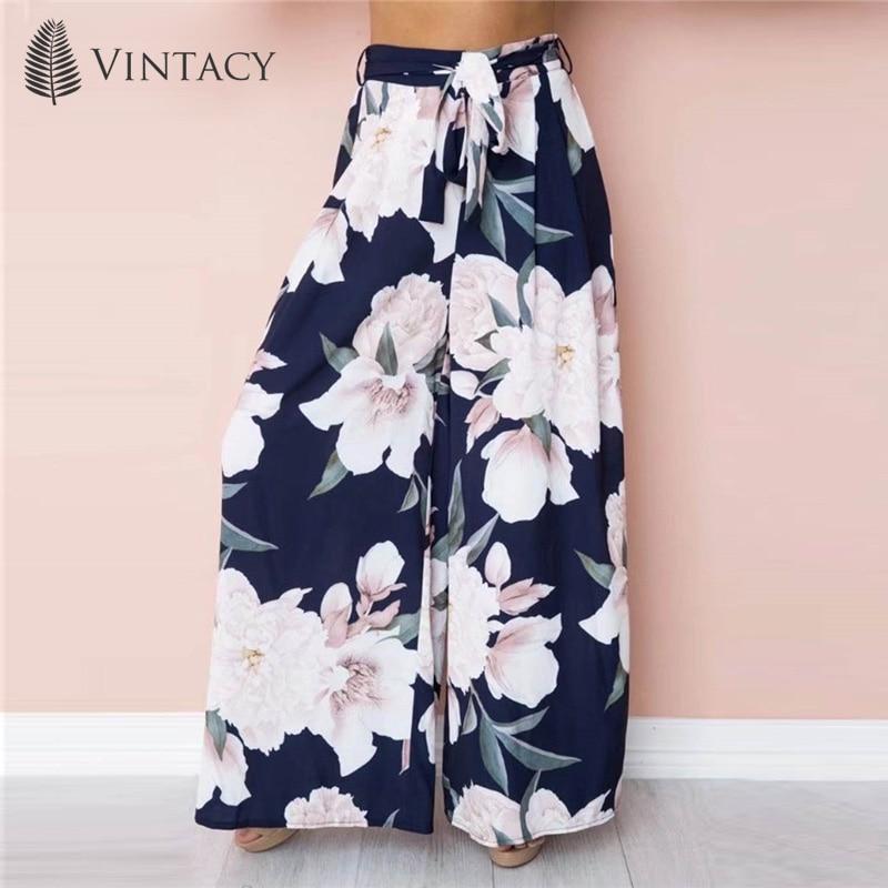 17e9693522 Women Floral Print Casual Pants Long Wild Leg Pants Trousers 2018 Summer  Boho Beach High Waist ...