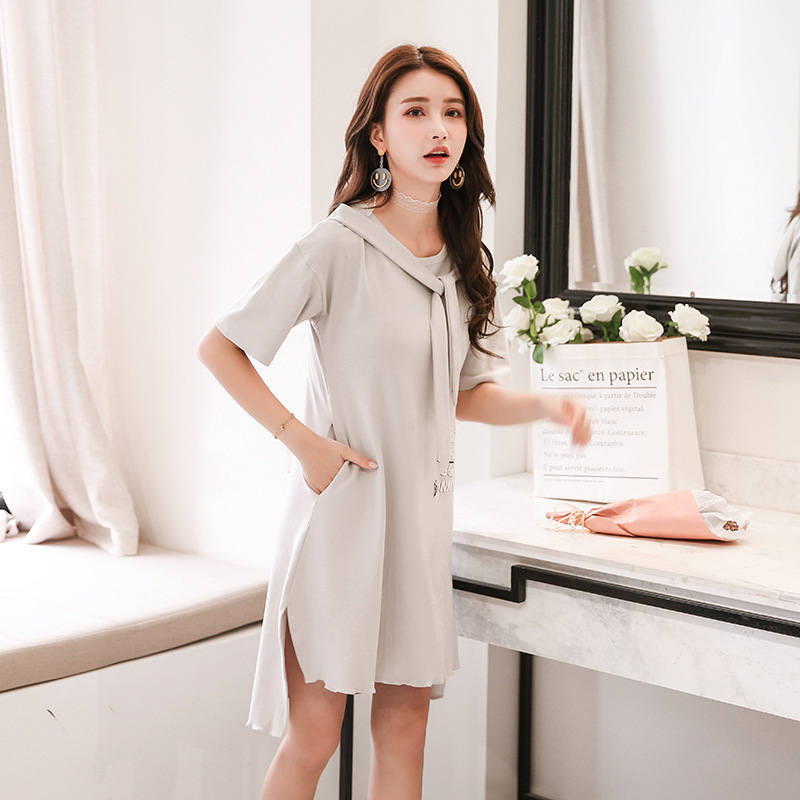 Korean Night Skirt Woman summer cotton Short Sleeve nightdress girls Sweet sleepwear Lovely Student Home Furnishing clothing