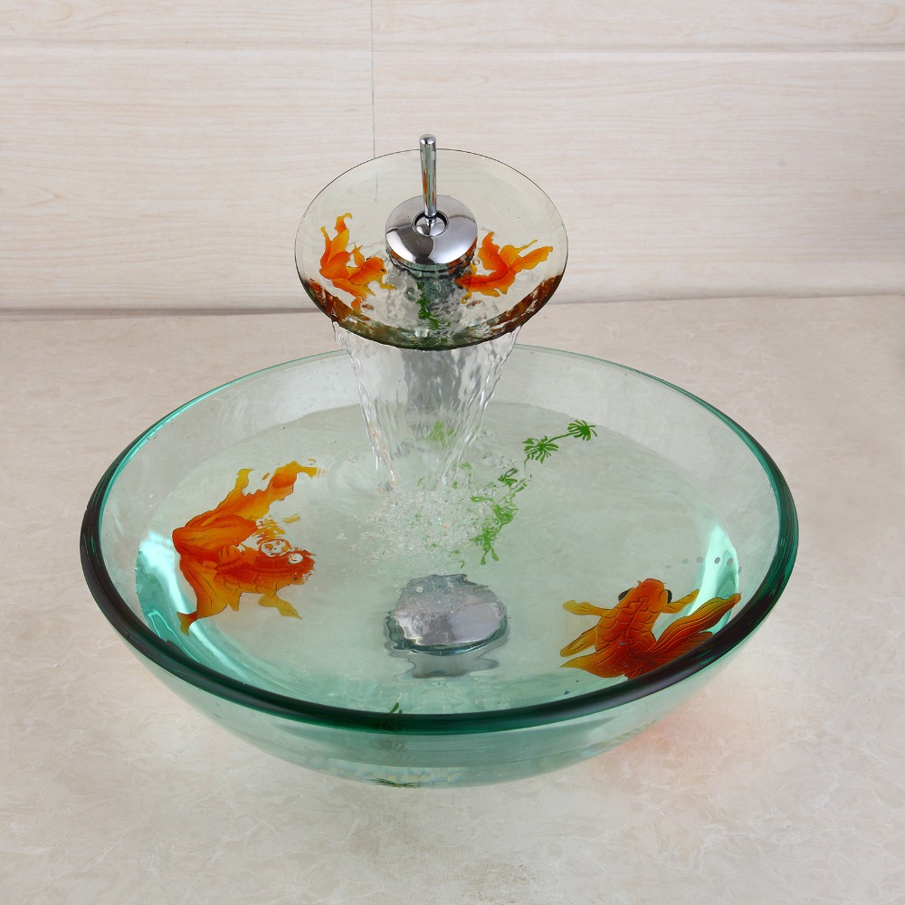 Modern bathroom reviews - Bathroom Modern Temperred Glass Golden Fish Painted Vessel Sink Faucet Pop Up Drain Combo Sink Set