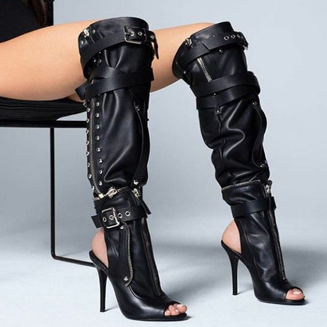 2019 Black Leather Women High Heel Motorcycle Boots Sexy Open Toe Ladies  Buckles Knee High Boots Slingback Zipper botas mujer