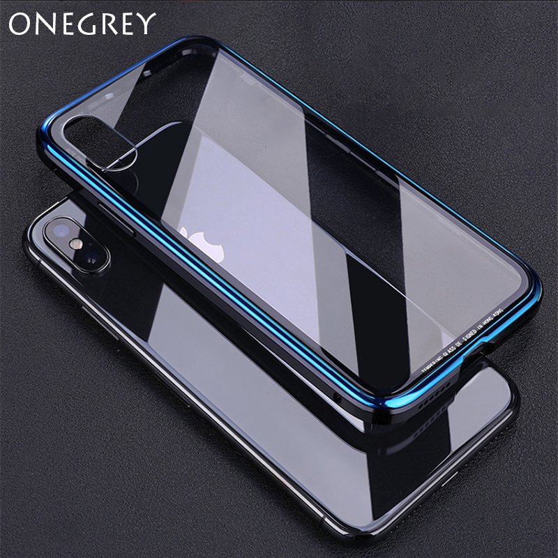For Iphone X XR XS Max 10 6 6s 7 8 Plus Luxury Metal Bumper Case Plating Frame Hard Clear Tempered Glass Mirror Thin Back Cover iPhone XS