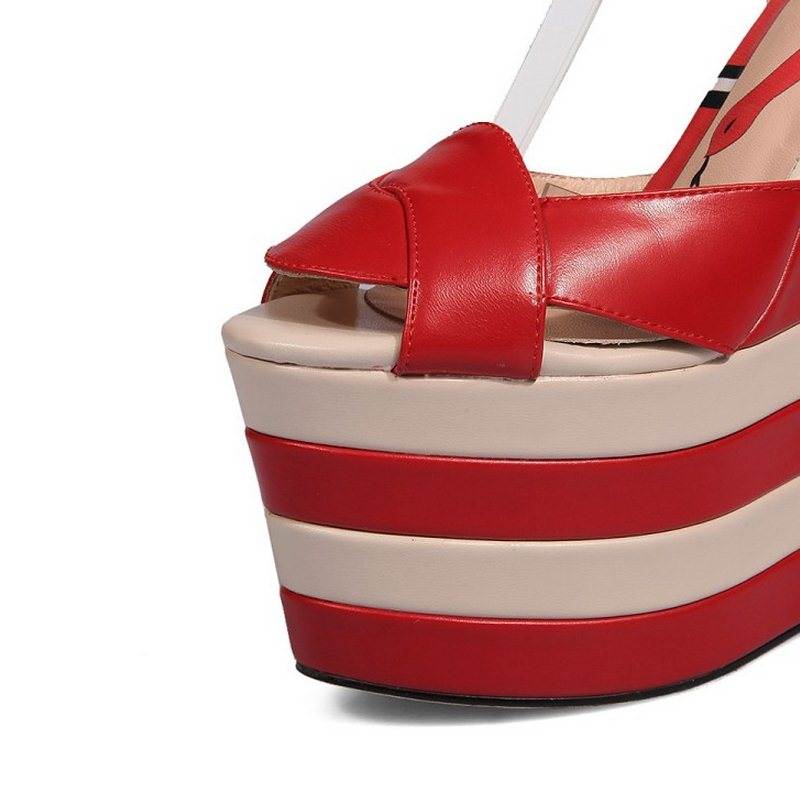Correa Cuñas 42 34 Colores Cuero red Alto Simple 1 Fizaizifai Tamaño Tobillo red Zapatos 5 plata marfil Peep Black Toe 2 Real De Plataforma Verano 1 Sandalias Genuino azul IxPqn5zOt5