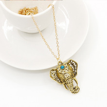 Antique Elephant Necklaces Pendants Ethnic Blue Beads Choker Long Link Chain Gold Color Silver Statement Charm Women Jewelry