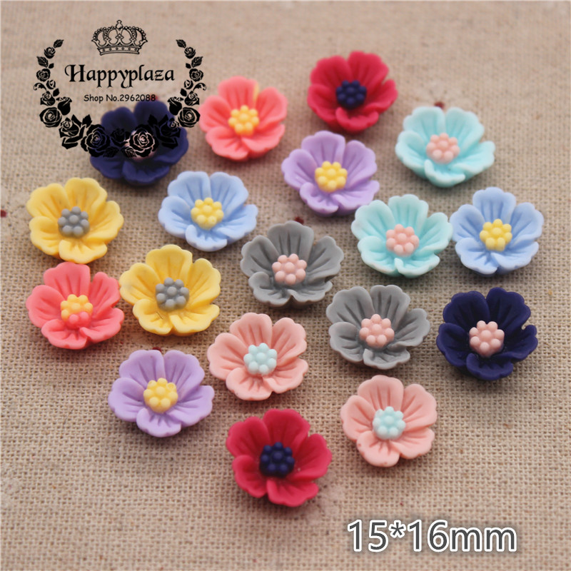 50PCS 15*16mm Mix Colors Vintage Resin Rose Flowers Flatback Cabochon DIY Jewelry/Craft Scrapbooking