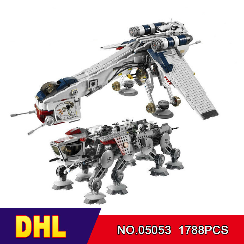 DHL LEPIN 05053 Star Cool Model Wars 1788pcs Republic Dropship with AT-OT Walker Building blocks Bricks Compatible 10195 Toy lepin 05053 1788pcs star series wars republic dropship with at ot walker building blocks bricks set compatible 10195 toys
