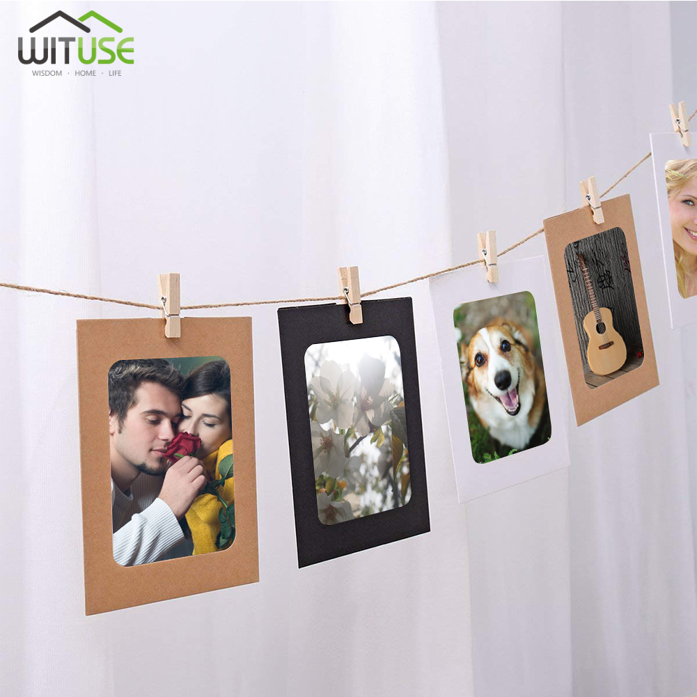 30 Pcs Kraft Paper Frame DIY Wall Hanging Photo Picture 3/5/6 inch Cadre With Clips and Rope For Family Memory