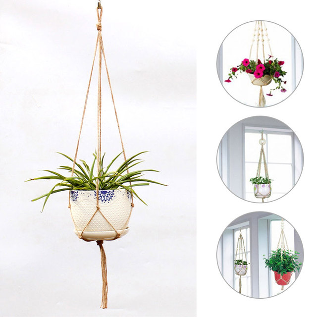 Hemp Corda Trançada SOLEDI Cabide Pot Nova Horticultura Greening Corda Pendurada Cesta Plantador de Vasos de Flores Decoração