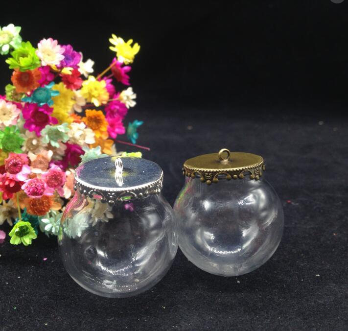 100 zestawów/partia 30*20mm szklana okrągła kula wisiorek medalion na całym świecie urok korona metalowa nakrętka otwarcia puste, które chcą butelki komponenty do biżuterii DIY w Wisiorki od Biżuteria i akcesoria na  Grupa 1