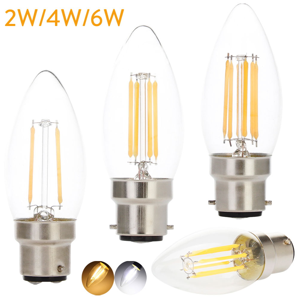 LED Filament Bulb Light B22 Bayonet Base 2W 4W Candle Bulb 220V C35 LED Shaped Lamp for Crystal Chandelier Lighting Warm Cool