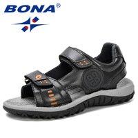 Bona 2019 summer new 아동용 샌들 편안한 아동용 신발 소년 샌들 캐주얼 미끄럼 방지 스포츠 트렌디 키즈 비치 신발