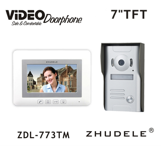 ZHUDELE Doorbell Intercom System 7 Display Wired Video Door Phone Touch button Night Vision 1V1 700TVL HD Home House Security