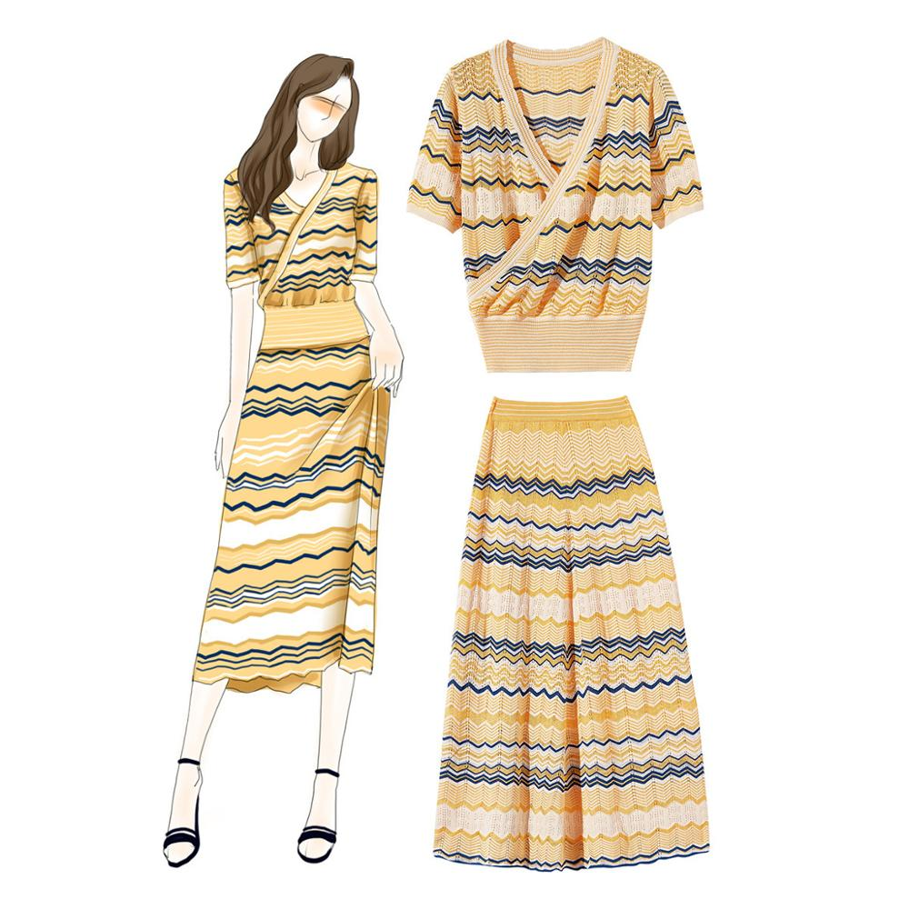 Femmes rétro imprimer 2 pièces ensemble à manches longues chemises plissées jupes 2019 printemps tout nouveau design jupe costume A234