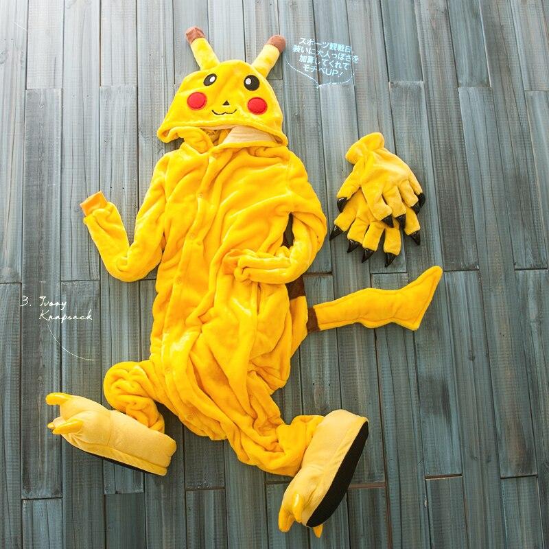 Plus Size Yellow Pikachu Adult Animal Onesies Footed Pajamas,adult onesie,albornoz mujer animal costume With Shoes+Paws