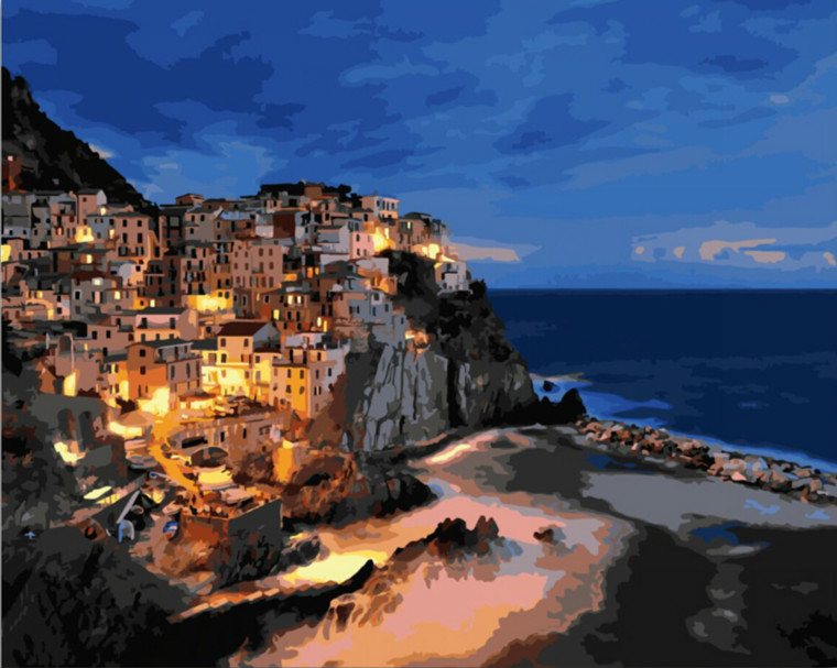 MaHuaf-X101 night scene Manarola painting by numbers on canvas on the frame Unique Gift