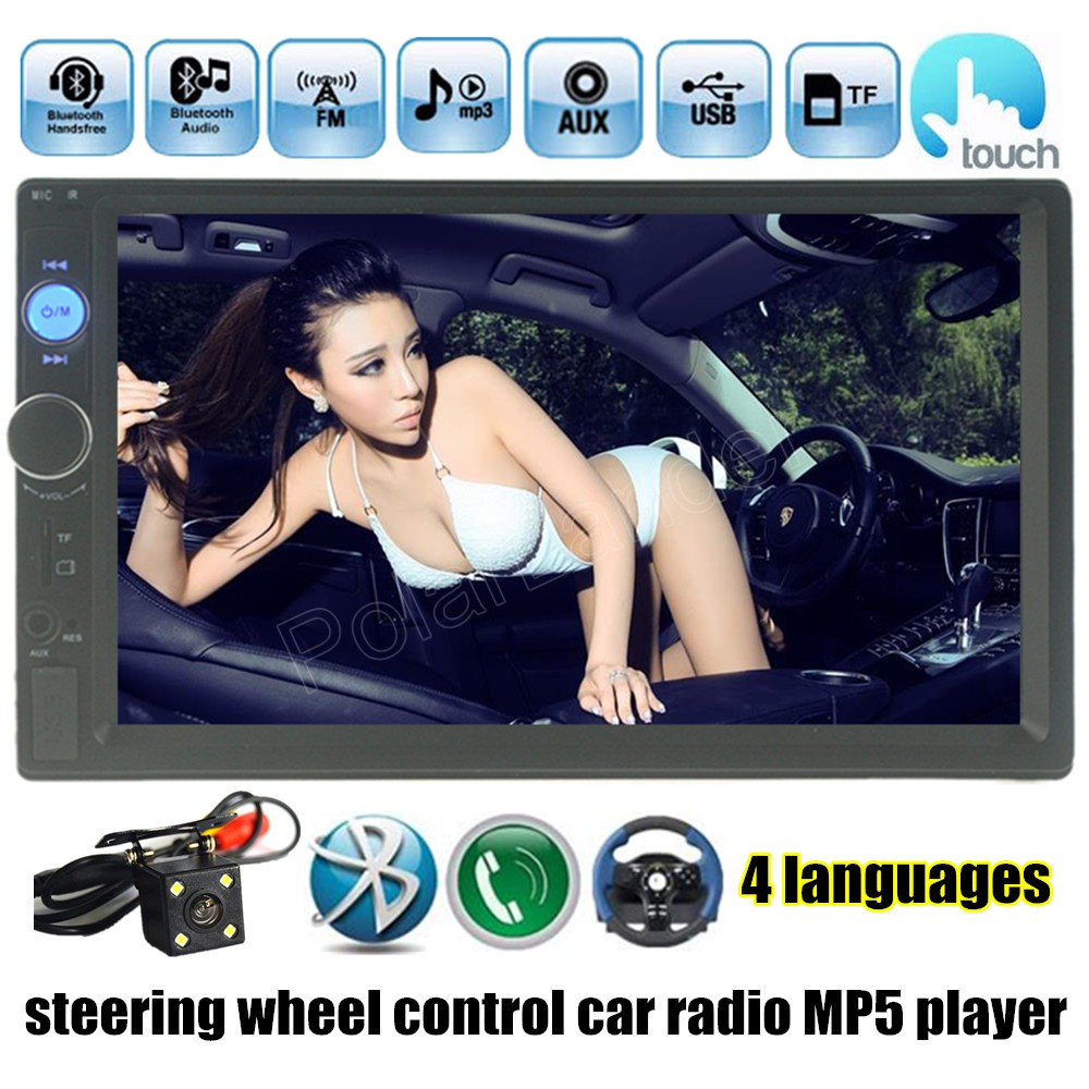 ФОТО hot sale with Rear view Camera MP4 MP5 Player 7 Inch 2 Din Touch Screen Car Bluetooth Radio USB/TF/FM/Auxin radio stereo