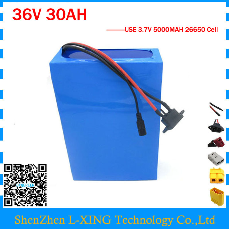 1500W 36V 30AH Ebike Battery 36 V Lithium ion Battery for Electric bike Conversion Kit With 50A BMS 42V 3A Charger 26650 Cell customize 51 8v 35ah lithium ion battery triangle style 52v 1500w electric bike battery with bag bms for sanyo ga3500 cell