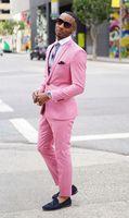 2017 neuesten Mantel-Hose Designs Pink Männer Anzug Formale Dünne Fit Blazer Einfache Party Custom Männer Smoking 2 Stück Terno Masculino 23