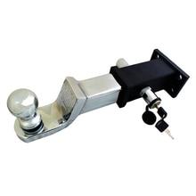 """Крюк для прицепа с """" шаровым креплением Серебряный Хром длинный 2 дюйма фаркоп с контактным замком и 5x5 см квадратный разъем конвертер"""