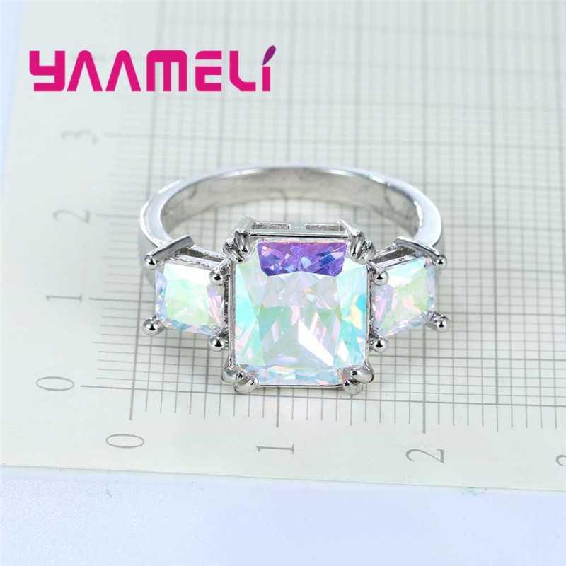 925 Sterling Silber Vintage-Schmuck Ring AB Farbige Mystic Zirkon Stein Modeschmuck Für Charmante Dame Frauen Geschenke
