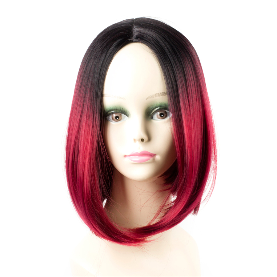 Elegant Muses Ombre Red Wigs Synthetic Hair Short Bob Wigs For Women