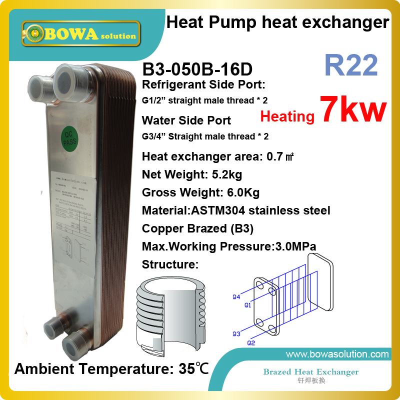 купить 7KW (R22) air source heat pump condenser is working togher with 2HP(30cc displacement) hermetic rotary or scroll compressors недорого