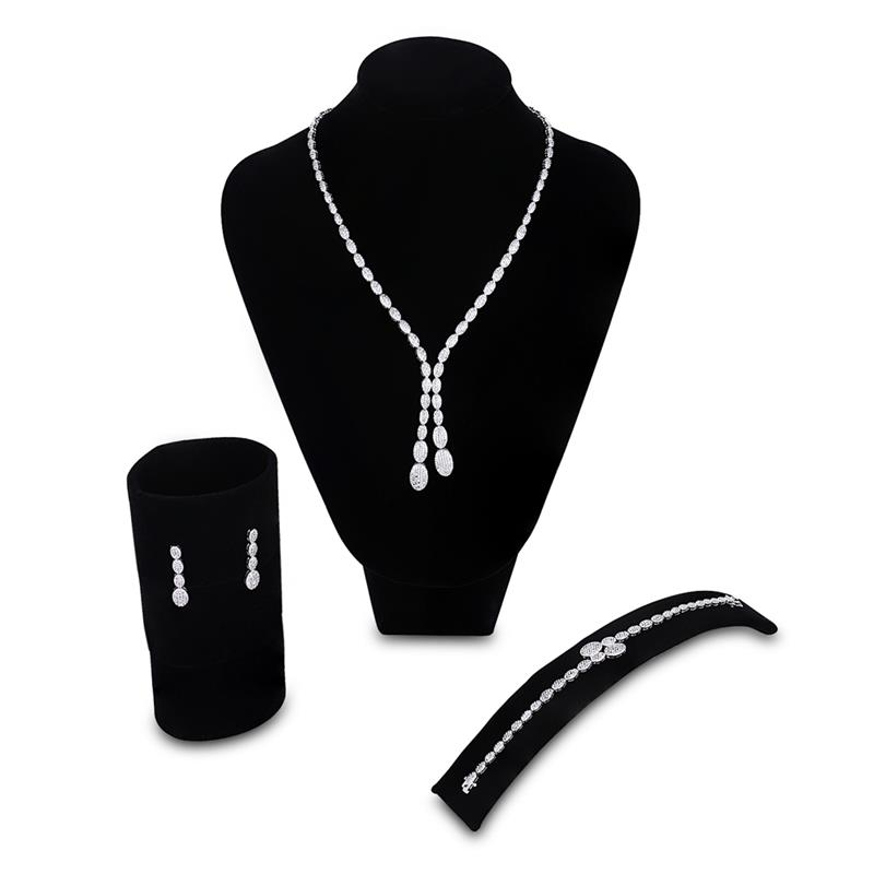 Bridal Jewelry sets for Women Banquet Dress Accessories Necklace Earring Bracelets Sets Wedding Jewelry Free Give the Ring