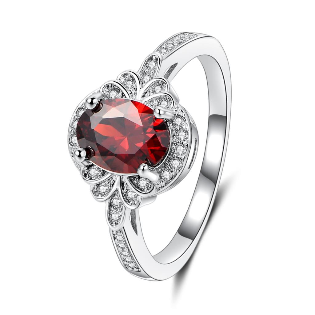 Graceful Silver Ring fashion Wedding Jewelry Beaytiful Round Cubic Zircon Red brown colo ...