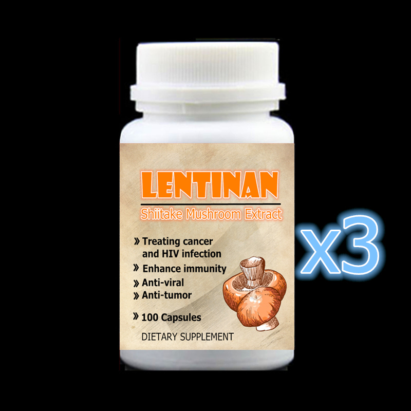 3 bottle 300pcs,Shiitake Mushroom Extract with Lentinan For Anti Cancer and HIV Infection Enhance immunity Anti-viral Anti-tumor gmp certified 500g anti tumor and cancer mushroom agaricus blazei extract 90%polysaccharides power for free shipping