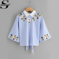 Sheinside Knot Button Back Embroidery Pinstripe Blouse 2017 Female Blue Contrast Collar Half Sleeve Cute Blouse