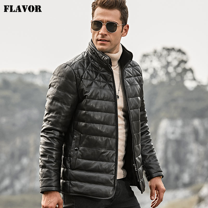 FLAVOR Coat Removable Down-Jacket Sheep-Fur-Collar Genuine Lambskin Winter Warm