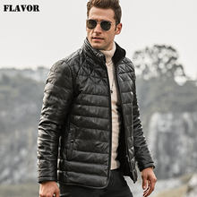 FLAVOR Men's Real Leather Down Jacket Men Genuine Lambskin Winter Warm Leather Coat with Removable Sheep Fur Collar(China)