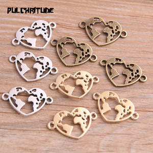PULCHRITUDE 20pcs Color Heart World Charms Connector Craft
