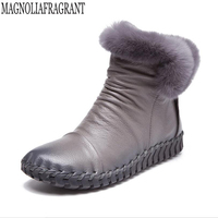 2017 Handmade Women's Winter Boots Women Real Fur Winter Shoes Woman Genuine Leather Warm Ankle Snow Boots Mujer Chaussure k61