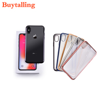 High Quality New Design Soft Transparent Cover Case For IPhone X Clear Plating TPU Protective Case