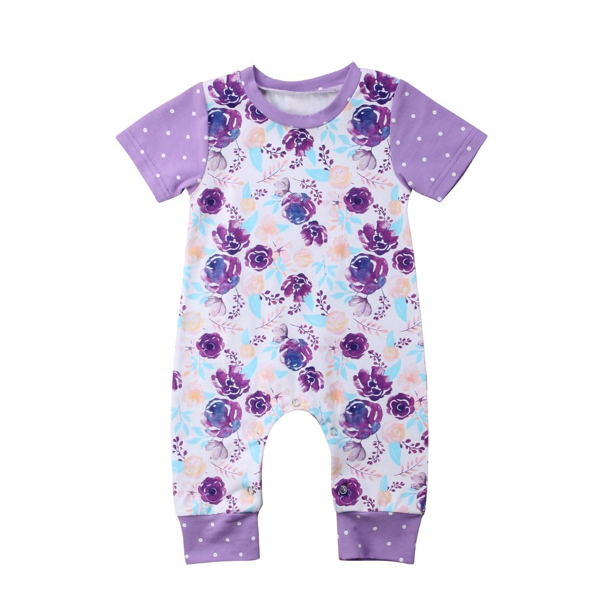 Girl Romper Newborn Infant Baby Boy Girl Short Sleeve Jumpsuit Floral Cotton Romper Outfit Sunsuit 0-24M