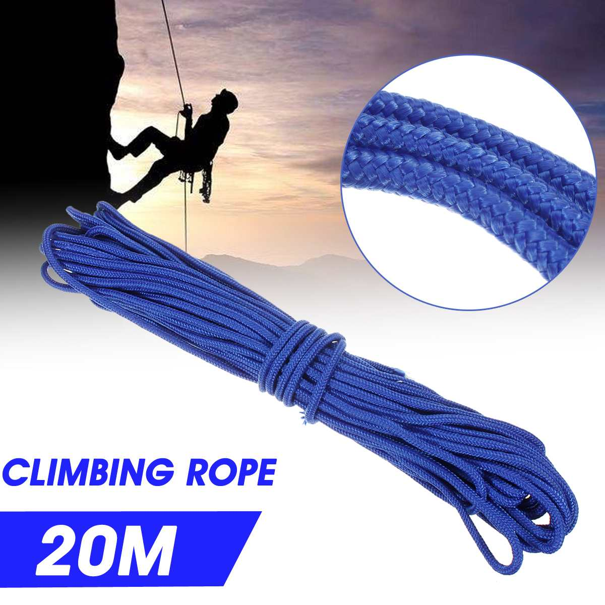 SGODDE 10m/20m 6mm Lifeline Rock Tree Wall Climbing Rope Outdoor Equipment Color Escape Survival Safety Rope High Strength Nylon