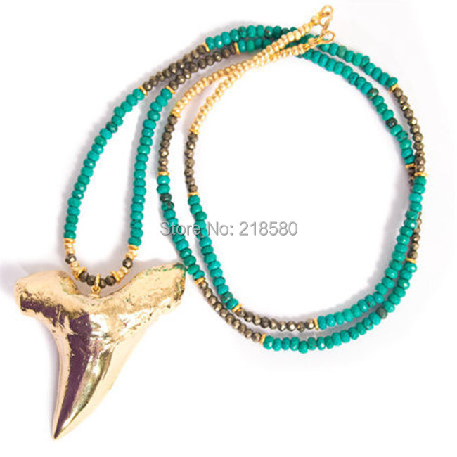 N15013102 Bohemian Jewelry Gold Shark Tooth Necklace Long Howlite and Pyrite Beaded Necklace мужские часы guess w0976g2