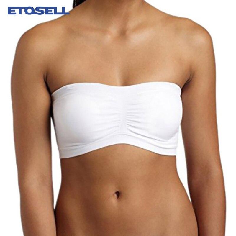 Womens Bandeau Tube Top Seamless Strapless Layering Bra Bralette Crop Top Mini