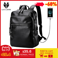 LIELANG New Arrival 2019 Men Backpack Fashion PU Leather Backpacks Laptop Bags External USB Charge Computer Antitheft Backpack