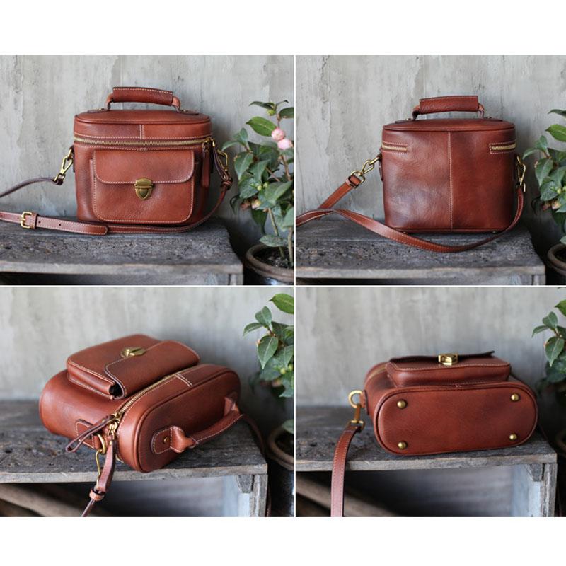 AETOO Leather retro doctor bag handmade leather shoulder bag brown bucket bag handbag personalized ethnic diagonal package