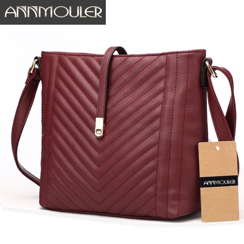 Annmouler Brand Women Bags Fashion PU Leather Shoulder Bag 5 Colors Crossbody Messenger Bags for Ladies Small Zipper Bag annmouler women shoulder bag high