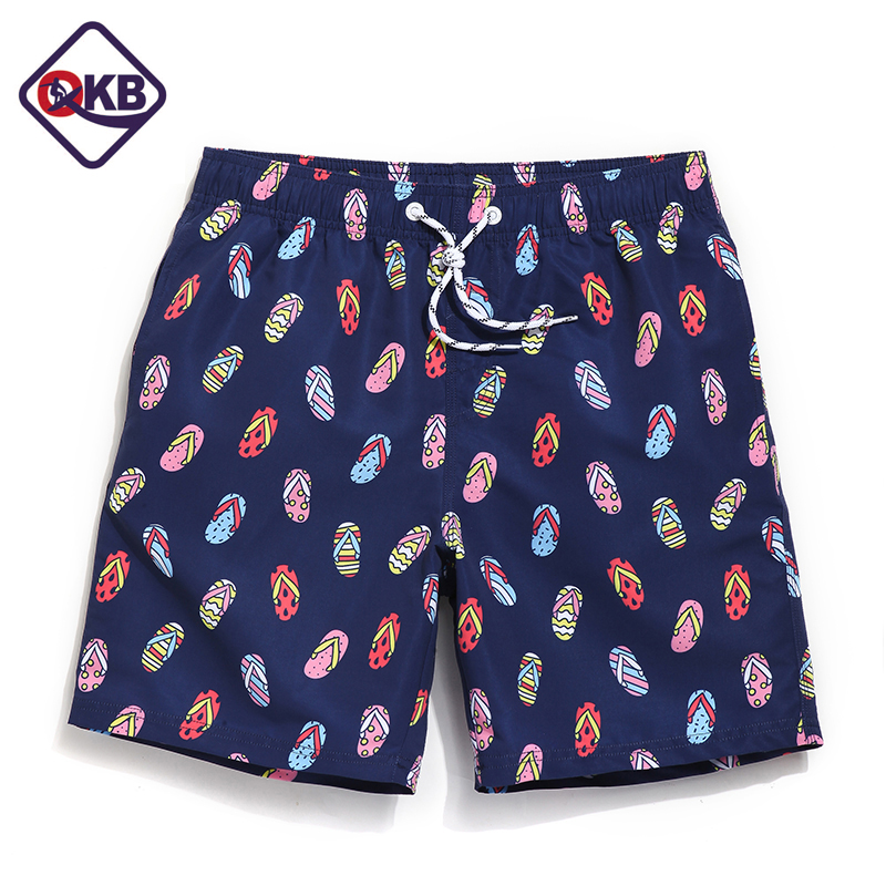 QIKERBONG Men's Beach   Board     Shorts   Quick Drying Men   Short   Bottoms Bermuda Custom Polyester Swimwear Swimsuits Plus Big Size