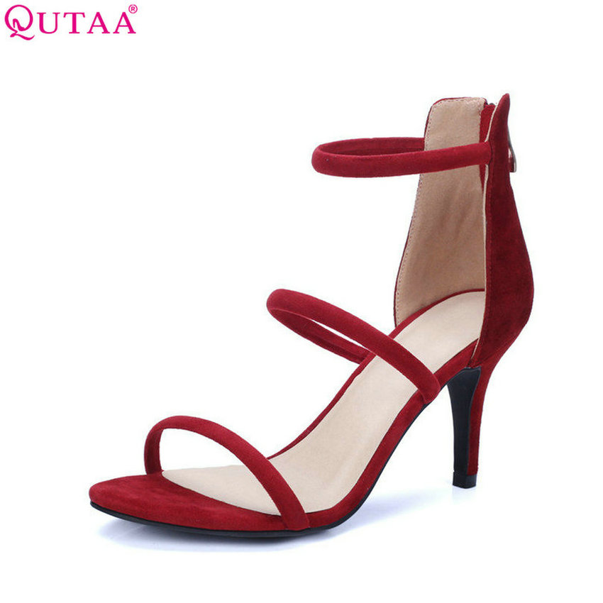 QUTAA 2017 Black Women Sandal Thin High Heel Platform Women Shoes Zipper Sexy Genuine Leather Ladies Wedding Shoes Size 34-39 2015 fashion women sandal thin high heel open heel glitter thick platform sandalias plataforma high heel sandal made to order