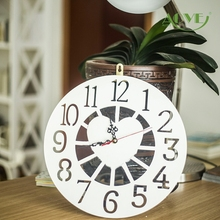 White pink color option wood heart round carved wall clock fashion watch 32x32cm bed living room home decoration