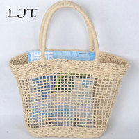 LJT 2017 Simple and Generous Plain Color Hollow Textured Woven Bag Korean Popular Straw Handbags No Lining Travel Beach Tote