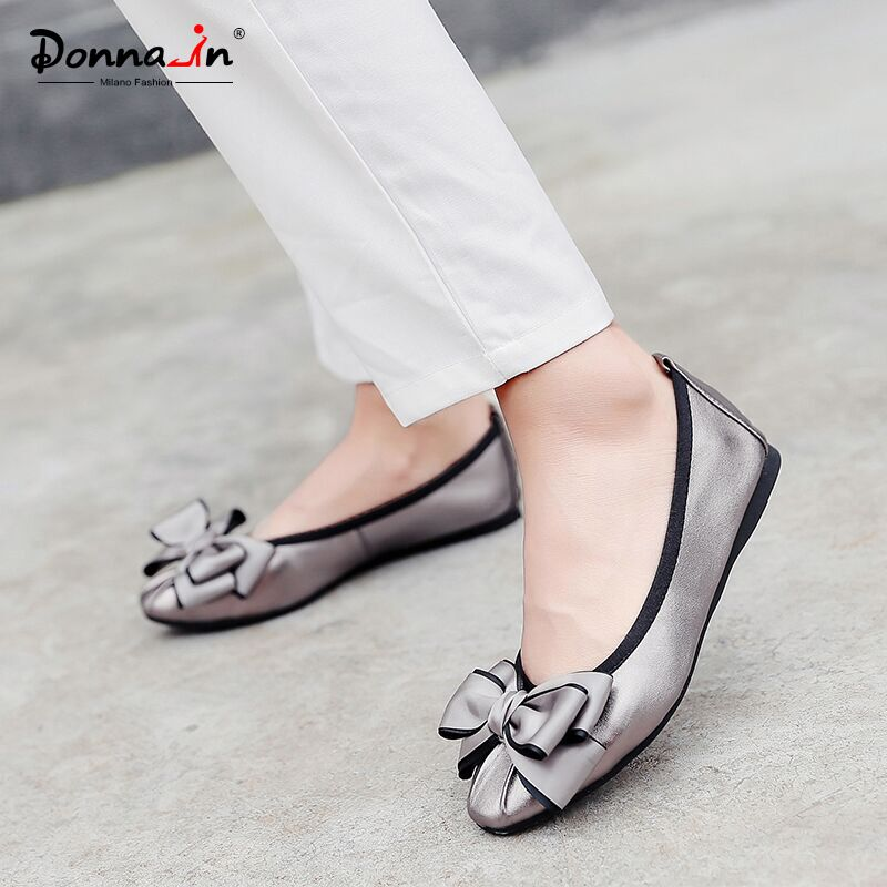 Donna-in 2018 Women Ballerina Flat Shoes Genuine Leather Round Toe Bowknot Soft Ladies Shoes Comfortable Casual Slip on Shoes new women genuine leather flat shoes round toe slip on women flats ladies casual flat shoes comfortable loafers size 22 26 5 cm